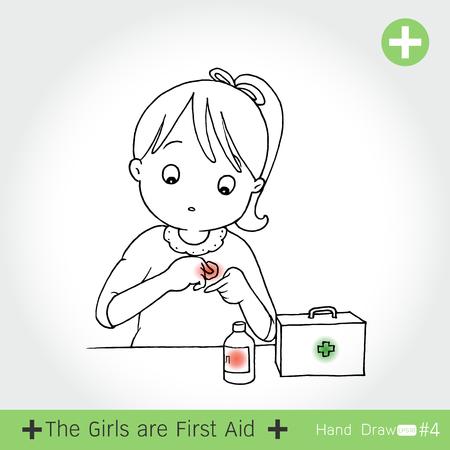 fiambres: conjunto de la chica de primeros auxilios para el corte de cuchillo, en el fondo blanco ilustración vectorial