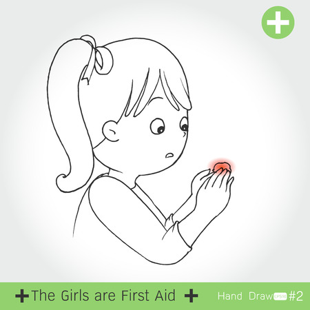 wet girl: set of the girl First aid for cutting of knife ,on white background Vector illustration