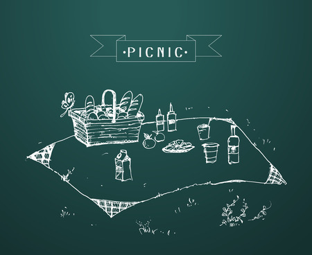 patio furniture: Outdoor picnic in park, Hand drawn style,vector background illustration