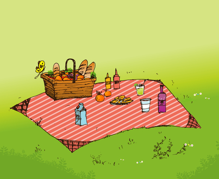 patio set: Outdoor picnic in park, Hand drawn style,vector background illustration