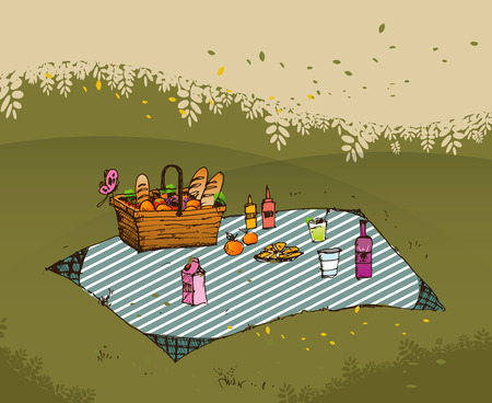 yard furniture: Outdoor picnic in park, Hand drawn style,vector background illustration