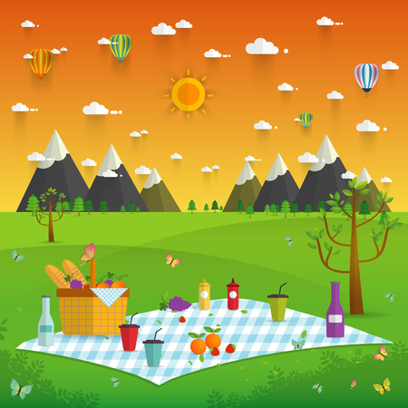 Outdoor picnic in Mountains,Food and pastime objects on nature landscape,picnic items. Creative banner with food and nature,vector background illustration Illusztráció