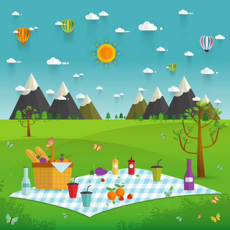 Outdoor picnic in Mountains,Food and pastime objects on nature landscape,picnic items. Creative banner with food and nature,vector background illustration Illustration