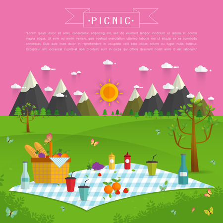 family park: Outdoor picnic in Mountains,Food and pastime objects on nature landscape,picnic items. Creative banner with food and nature,vector background illustration Illustration