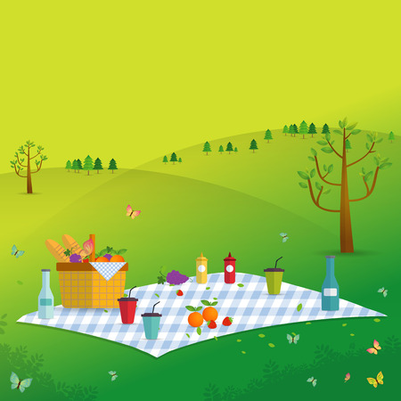 Outdoor picnic in Mountains,Food and pastime objects on nature landscape,picnic items. Creative banner with food and nature,vector background illustration Иллюстрация