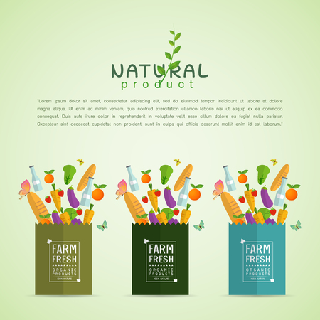 Paper package with fresh healthy produce. Organic products from the farm. Vegetables, bread, dairy products and butterfly. Vector flat design illustration Vettoriali