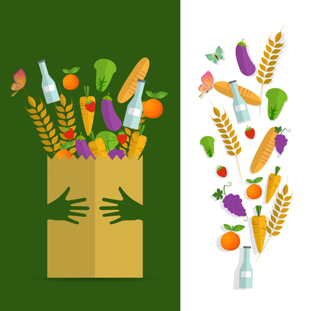 Paper package with fresh healthy produce. Organic products from the farm. Vegetables, bread, dairy products and butterfly.hand hug concept, Vector flat design illustration