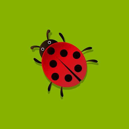 le style de coccinelle de bande dessinée vecteur icône isolé sur fond vert. Ladybug illustration vectorielle. Coccinelle isolé noir et icônes de couleur vecteur silhouette. Coccinelle, animal, insecte, vecteur de style plat Vecteurs