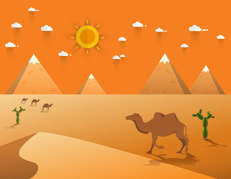 sand dune: Egyptian great pyramids with camel,sand dune,cacti in the desert on a background of the sun.  Vector illustration. Illustration