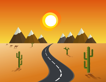 desert road: picture of desert road, cacti, mountains and setting sun, flat style Vector illustration