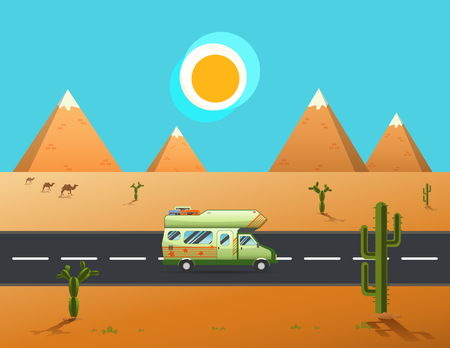 family van: Family traveler truck driving on the road. Outdoor journey camping traveling vacation concept poster card.caravan motorhome van on Road through a desert and mountains landscape.vector illustration Illustration