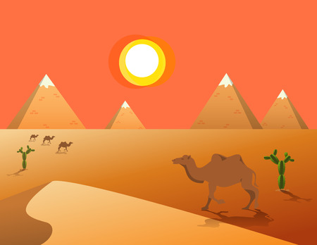 dune: Egyptian great pyramids with camel,sand dune,cacti in the desert on a background of the sun.  Vector illustration. Illustration
