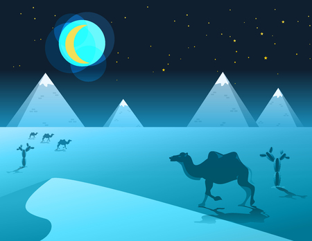sand dune: Egyptian great pyramids with camel,sand dune,cacti in the desert on a background of the moon night. Vector illustration. Illustration