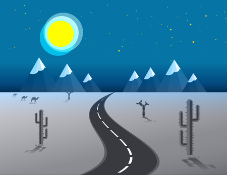 desert road: picture of desert road, cacti, mountains and setting moon night, flat style Vector illustration