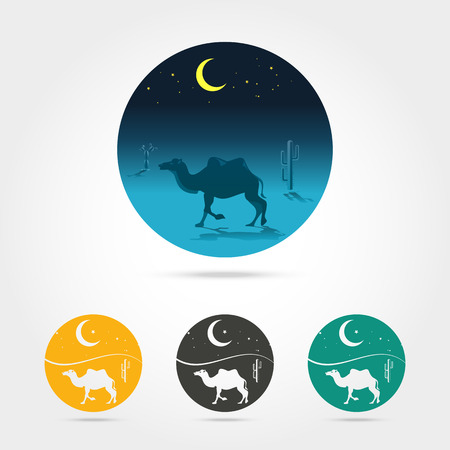 sand dune: Isolated abstract desert logo icon,showing sand dune,moon night ,camel and cactus,on white background Vector illustration Illustration