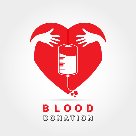 rh: Logotype blood donation, help the sick and needy.dropper with a drop of blood in heart with hand hug concept,on white background Vector illustration Illustration