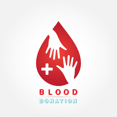 needy: logotype blood donation, help the sick and needy. dropper with a drop of blood, Vector illustration Illustration