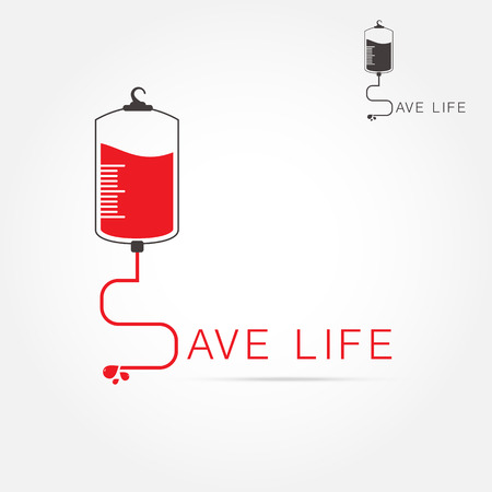 rh: logotype blood donation, help the sick and needy. dropper with a drop of blood, Vector illustration Illustration