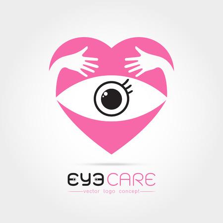 oculista: Ilustración del vector del ojo humano abstracto en el corazón con la mano concepto abrazo. Plantilla de diseño de logotipo. Concepto para la tienda de óptica, gafas, oculista, oftalmología, estilista de maquillaje, la investigación. cuidado de los ojos orgánicos naturales