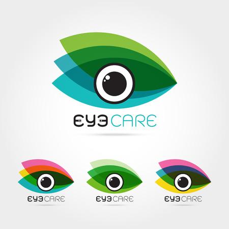oculista: Ilustración del vector del ojo humano abstracto en el marco colorido hojas. Plantilla de diseño de logotipo. Concepto para la tienda de óptica, gafas, oculista, oftalmología, estilista de maquillaje, la investigación. cuidado de los ojos orgánica natural. Vectores