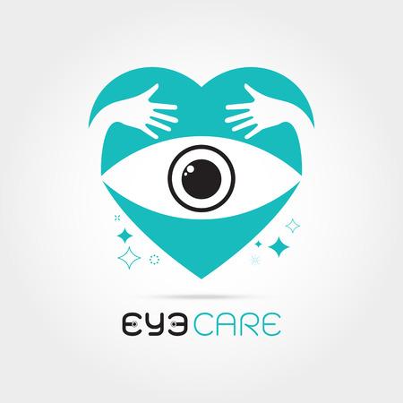 oculist: Ilustración del vector del ojo humano abstracto en el corazón con la mano concepto abrazo. Plantilla de diseño de logotipo. Concepto para la tienda de óptica, gafas, oculista, oftalmología, estilista de maquillaje, la investigación. cuidado de los ojos orgánicos naturales