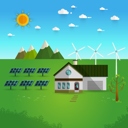 Green energy an eco friendly house - solar energy, wind energy,urban landscape,Vector concept illustration.