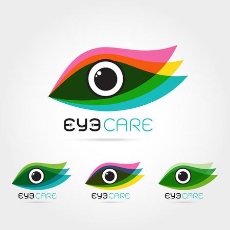 oculista: Ilustración del vector del ojo humano abstracto en el marco colorido hojas. diseño de la plantilla. Concepto para la tienda de óptica, gafas, oculista, oftalmología, estilista de maquillaje, la investigación. cuidado de los ojos orgánica natural.