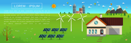 eco friendly house - solar energy, wind energy,Green energy ,urban landscape,Vector concept illustration.