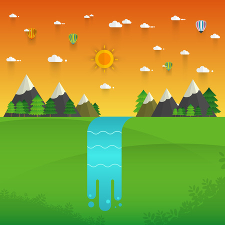 cascade mountains: Landscape illustration. Mountain river, waterfall, mountains, hills, and clouds. Flat design vector Illustration