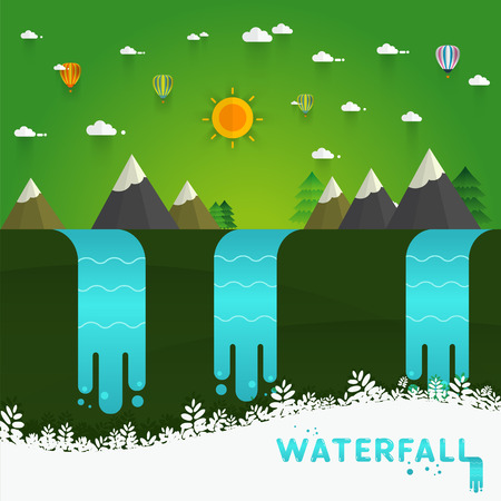 waterfall river: Landscape illustration. Mountain river, waterfall, mountains, hills, and clouds. Flat design vector Illustration