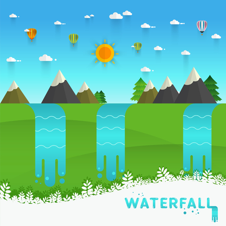 water stream: Landscape illustration. Mountain river, waterfall, mountains, hills, and clouds. Flat design vector Illustration