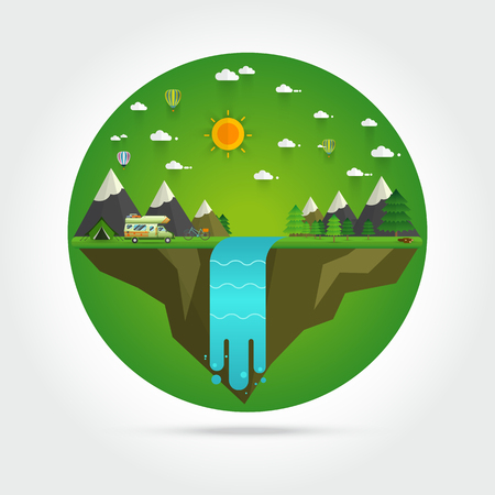 cascade mountains: Weekend in the tent. Hiking and camping,Landscape illustration. Mountain river, waterfall, mountains, hills, and clouds. Flat design vector. Illustration
