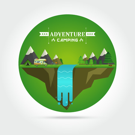 waterfall river: Weekend in the tent. Hiking and camping,Landscape illustration. Mountain river, waterfall, mountains, hills, and clouds. Flat design vector. Illustration
