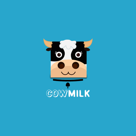 creamery: cow head Milk template. Milk label with sample text. Milk icon for groceries, agriculture stores, packaging and advertising. Vector design. Illustration