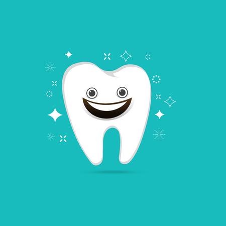 dentures: Smiling tooth on blue background ,Vector illustration Illustration