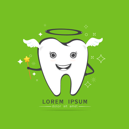 cute angelic tooth with wings , magic sparkle on green background ,Vector illustration