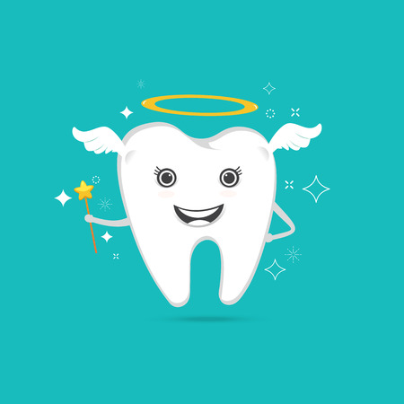 cute angelic tooth with wings , magic sparkle on blue background ,Vector illustration Illustration