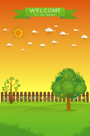 Gardening. Banner with summer garden landscape. tree, flower bushes, wood fence and lawn. Flat style, vector illustration.