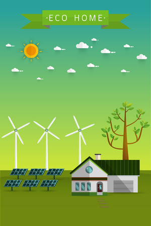 Poster and banner of eco friendly house - solar energy,wind energy,Green energy,urban landscape,Vector concept illustration.