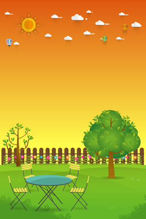 Beautiful Gardening. poster Banner with garden landscape.table,chair, tree, flower bushes, wood fence and lawn. Flat style, vector illustration.