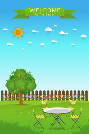 palisade: Beautiful Gardening. poster Banner with garden landscape.table,chair, tree, flower bushes, wood fence and lawn. Flat style, vector illustration.