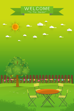 lawn chair: Beautiful Gardening. poster Banner with garden landscape.table,chair, tree, flower bushes, wood fence and lawn. Flat style, vector illustration.