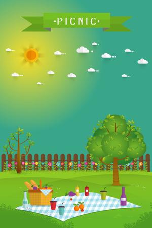 Outdoor picknick in de tuin, eten en tijdverdrijf objecten op de natuur landschap, picknick items. Creatieve poster banner met voedsel en natuur, vector achtergrond illustratie Vector Illustratie