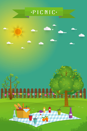 Outdoor picnic in garden,Food and pastime objects on nature landscape,picnic items. Creative poster banner with food and nature,vector background illustration Illustration