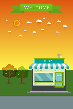 sidewalk sale: poster banner Flat Vector Detailed Shop, Market, Store, Cafe, Barbershop, Grocery Illustration, Isolated On Cityscape Background. Illustration