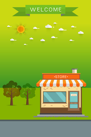 poster banner Flat Vector Detailed Shop, Market, Store, Cafe, Barbershop, Grocery Illustration, Isolated On Cityscape Background. Illustration