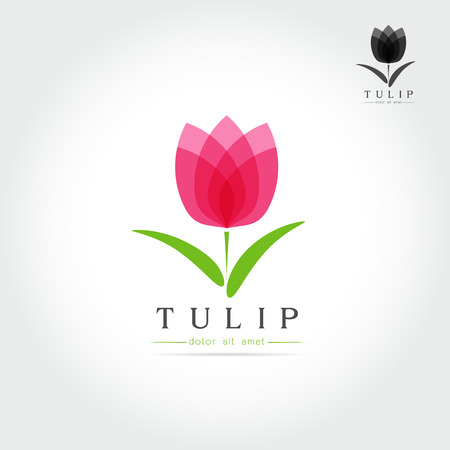 Simple Tulip bud with leaves design for emblem or sign on white background Vector illustration