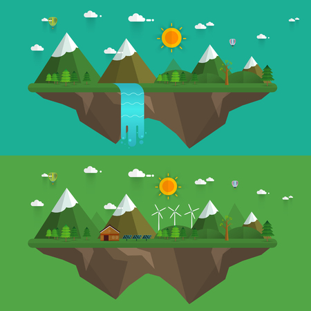 cascade mountains: Natural landscape in the flat style. a beautiful park.Environmentally friendly natural landscape.Vector illustration Illustration