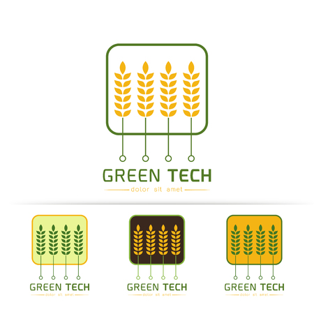 food production: Creative symbol concept with circuit board,Ears of Wheat,Barley, Modern agricultural technology  design template. Icon idea for farming and food production theme,on white background Vector illustration