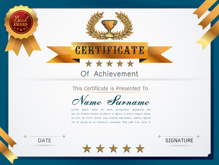 qualification: Graceful certificate template with Luxury and modern pattern, Qualification certificate blank template